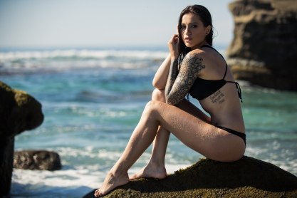Claire Marie, Clair Marie, base girl, tattooed model, Female stunt man, stunt woman, female base jumper, bikini model